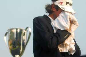 Bubba Watson, 2010 Travelers Champion, gets emotional at the mention of his father who is sick with cancer.