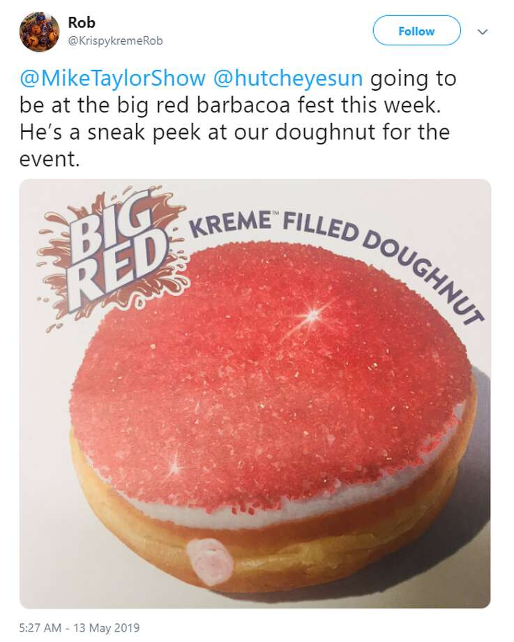 Krispy Kreme will be selling a Big Red cream-filled doughnut at the Barbacoa & Big Red Festival on May 19, 2019. Photo: Twitter/@KrispykremeRob