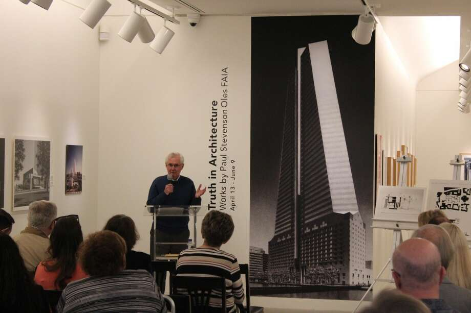 "Steve Oles speaks about his work at the opening of ""Truth in Architecture"" in April at the Museum of the Southwest Photo: Rich Lopez/Reporter-Telegram"