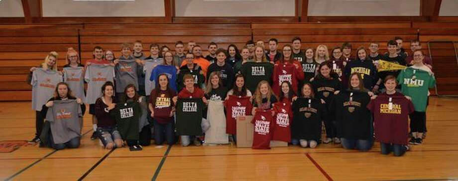 Students are pictured with their T-shirts at Ubly's Decision Day. (Submitted Photo)