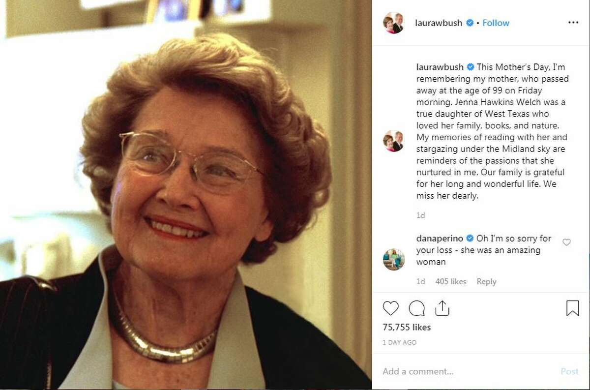 Former First Lady Laura Bush shared a loving tribute to her mother Jenna Welch on Mother's Day. Welch passed away May 10 in Midland.