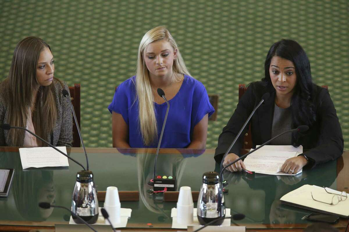 Former USA Gymnastics national team athletes, from left, Jordan Schwikert, Alyssa Baumann and 2000 Olympic bronze medalist Tasha Schwikert, testify before the Texas Senate Committee on State Affairs in favor of new language for HB 3809, Monday, May 13, 2019. The bill extends the civil statute of limitations for child sexual abuse, giving victims 30 years to sue their abusers and organizations that protected them. The three gymnasts were victims of child sexual abuse by USA Gymnastics' Dr. Larry Nassar.