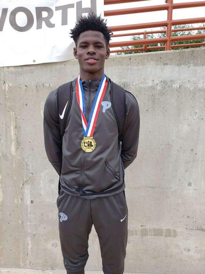 Paetow junior Johnathan Baker became the first UIL state track and field champion in school history May 10 at Mike A. Myers Stadium in Austin. Baker set a personal record with a long jump of 24 feet, 10 inches. Photo: Paetow High School / Paetow High School