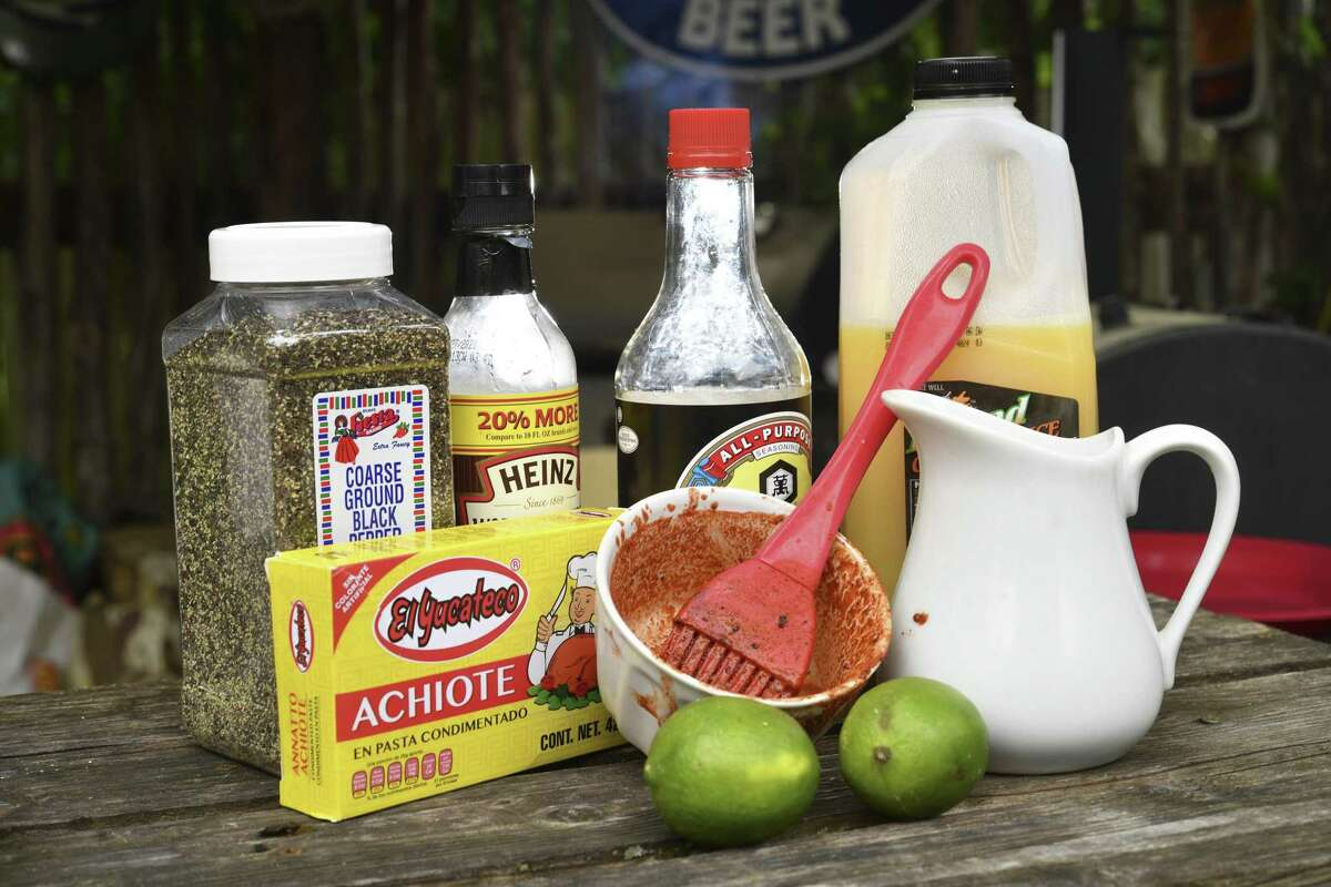 Chuck Blount's pollo asado is marinated for two to four hours in a mixture of consisting of achiote paste, lime juice, orange juice, kosher salt, soy sauce, Worcestershire sauce and black pepper.