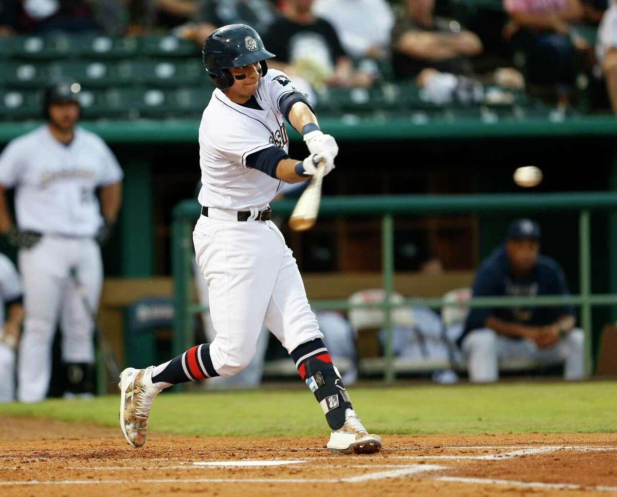 Mauricio Dubon swings at a pitch as the San Antonio Missions hosted the Round Rock Express on Friday, April 3, 2019, at Wolff Stadium.