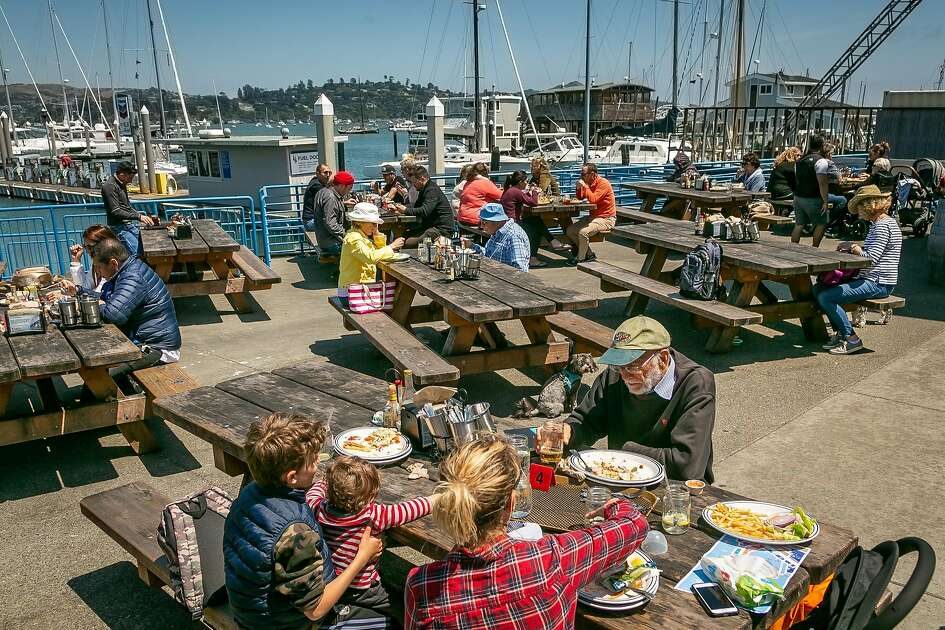 People have lunch at Fish restaurant in Sausalito, Calif. on May 8th, 2019.
