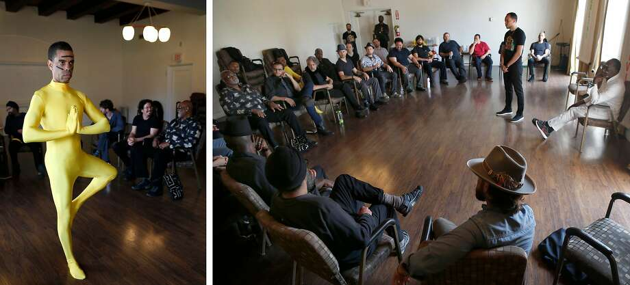 """Urban Healers member Butterfly Williams performs a dance as Yellow Sand Earth Man at The Urban Healers all-men's group holds a """"ritual for healthy masculinity"""" workshop on sexual consent in Oakland, Calif. on Saturday, April 27, 2019. Photo: Paul Chinn / The Chronicle"""