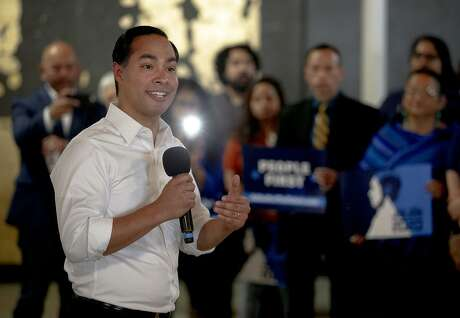 Democratic presidential candidate Julian Castro speaks during a campaign rally on Wednesday, May 8, 2019, in Austin, Texas. (Nick Wagner/Austin American-Statesman via AP)
