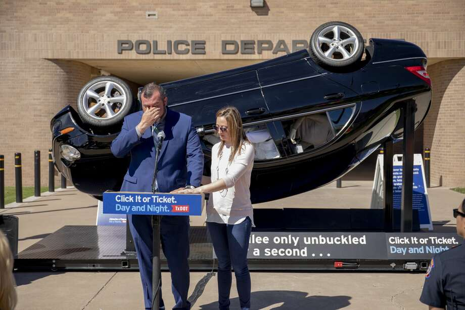 "David and Wendy Mills talk about their daughter, Kailee, during a press conference. The Texas Department of Transportation unveiled ""Kailee's Crash"" -- a sculpture that captures a car in mid-air prior to impact -- on Wednesday at the Odessa Police Department. The TxDOT campaign Click It or Ticket Day and Night starts on May 20. Photo: Jacy Lewis/191 News"