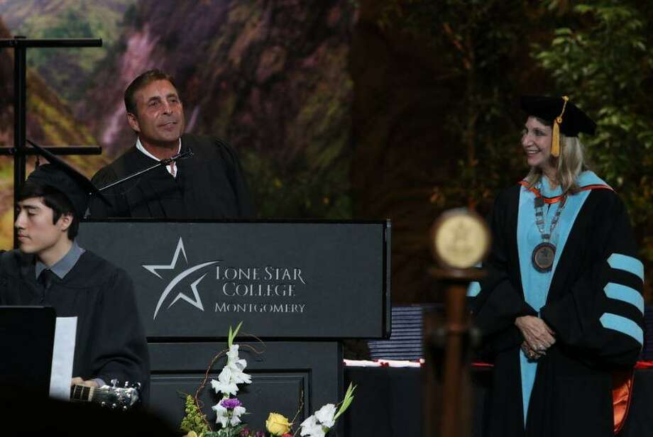 Lone Star College-Montgomery gave out diplomas or certificates to just over 400 students in the Class of 2019 Thursday, May 9, 2019 at The Woodlands Church- Fellowship Campus. In total, LSC-Montgomery awarded more than 1,500 associate degrees or certificates this year. Here, Johnny Carrabba, founder of Carrabba's Italian Grill, speaks to the graduates. Photo: Submitted Photo / Submitted Photo