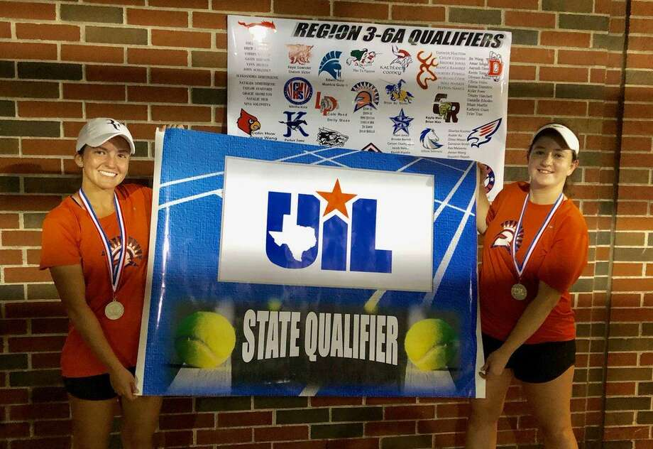 The Seven Lakes girls doubles team of senior Isabella Wiik and freshman Anna Bouleau reached the semifinals and won a state playback at the Region III-6A tennis tournament April 17-18. Photo: Seven Lakes High School / Seven Lakes High School
