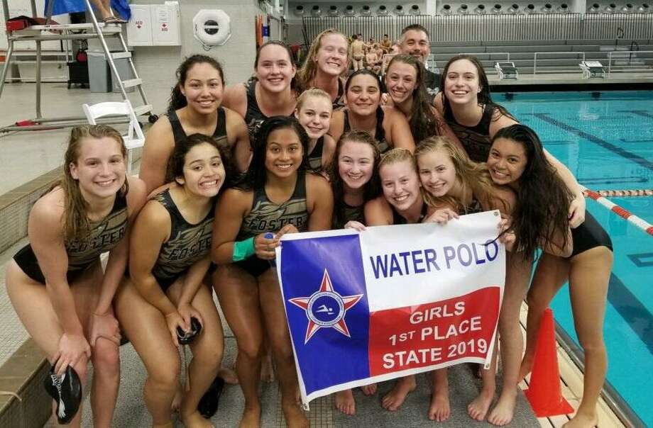 The Foster girls water polo team won its first TISCA state championship May 3-4 at the Lee and Joe Jamail Texas Swim Center in Austin. The Falcons defeatedFlower Mound Marcus 7-2,Cy Creek 8-6,Denton Guyer 10-9 andSouthlake Carroll 8-7 for the state title. Photo: Foster High School / Foster High School