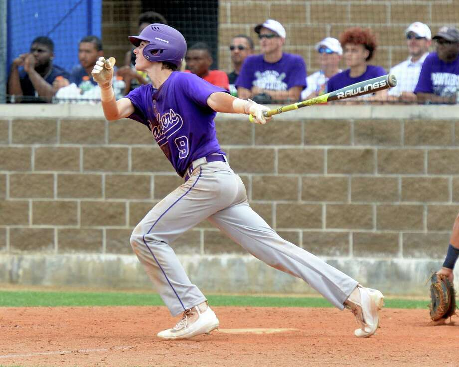 Will Pendergrass (9) of Ridge Point drives in two runs with a hit in the fifth inning during game 3 of a 6A Region III quarterfinal baseball playoff series between the Ridge Point Panthers and the Cy Ranch Mustangs on May 20, 2017 at Katy Taylor HS, Katy, TX. Photo: Craig Moseley, Staff / Houston Chronicle / ©2017 Houston Chronicle