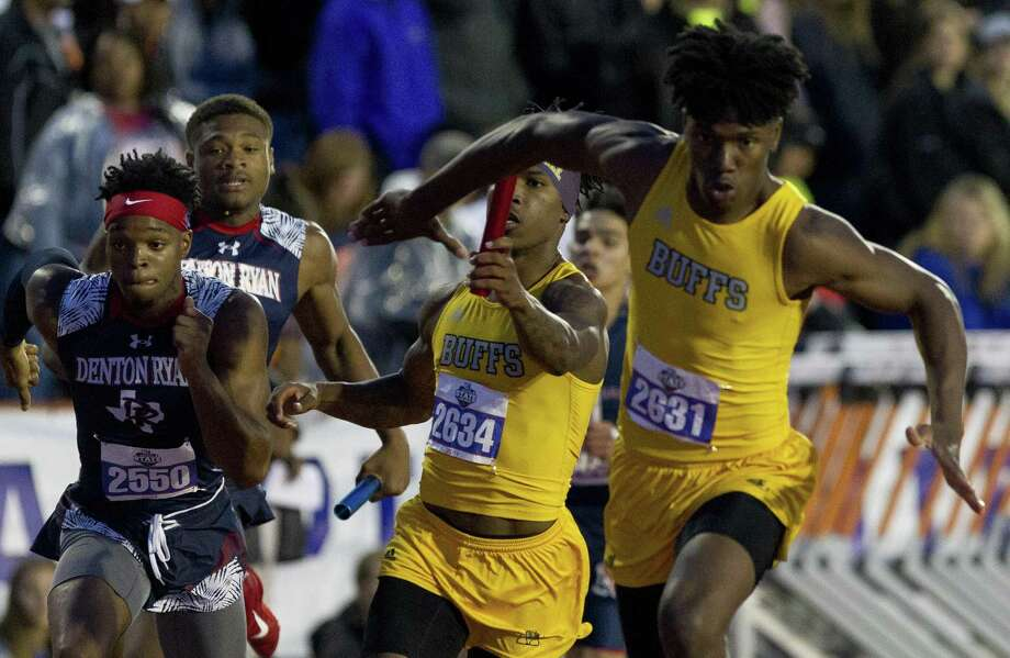Fort Bend Marshall competes in the 5A boys 800-meter relay during the UIL State Track & Field Championships at Mike A. Myers Stadium, Friday, May, 10, in Austin. Marshall finished first in the event. Photo: Jason Fochtman, Houston Chronicle / Staff Photographer / © 2019 Houston Chronicle