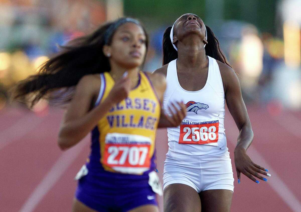 Laila Owens of Fort Bend Bushreacts after competingin the 6A girls 400 meter dash during the UIL State Track & Field Championships, Saturday, May 13, 2017, in Austin.