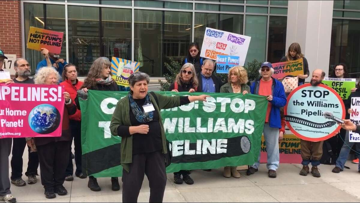Irene Weiser outside the Albany Capital Center on Monday. She said National Grid tried to deny her entry into an energy conference over her views on the environment.