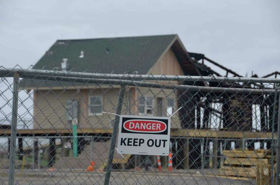 State officials have not released the cause of the March 19, 2019 fire that destroyed part of a $9.1 million Silver Sands State Park improvement project in Milford, Conn. Officials have said, however, that once construction starts again it will take five to six months to complete it. Photo: Jill Dion / Hearst Connecticut Media