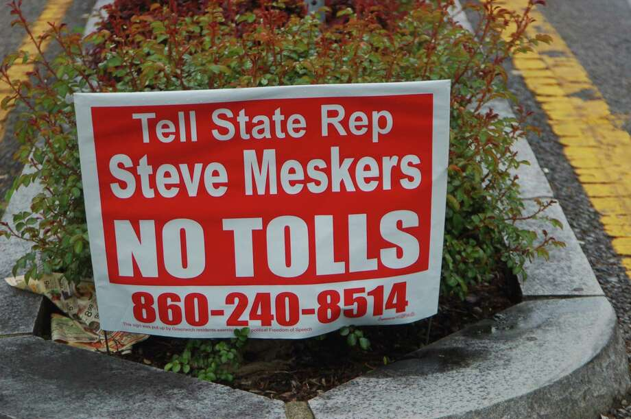 """Signs have popped up around Greenwich urging anti toll residents to call up Rep. Stephen Meskers and Sen. Alex Bergstein before a state toll vote. But so far the signs have not managed to have much impact. The signs are being paid for by an unnamed group of town residents """"exercising their political free speech."""" Photo: Ken Borsuk / Hearst Connecticut Media"""