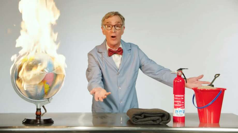 "Bill Nye had a brief interlude on Sunday's ""Last Week Tonight,"" explaining climate change in, er, colorfully-charged ways. Photo: HBO"