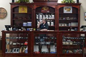 The front desk at the Cigar Bar in Beaumont. The recently opened store offers cigars, humidors and a climate controlled area to smoke.  Photo taken Tuesday, 5/7/19