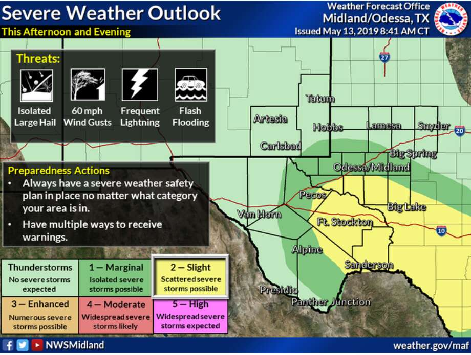 Storms are expected to form across the whole area, with a greater chance of severe weather in the southern Permian Basin and the Lower Trans-Pecos today and tonight. Expect hail, gusty winds, and flash flooding due to heavy rainfall. For severe storms, additionally, watch out for large hail and damaging winds. Stay alert and up to date on the changing conditions here and on our Facebook and Twitter pages. Be safe and weather aware!