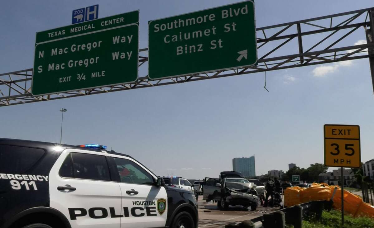 Houston police arrest a suspected car thief after a pursuit along Texas 288on Monday, May 13, 2019.