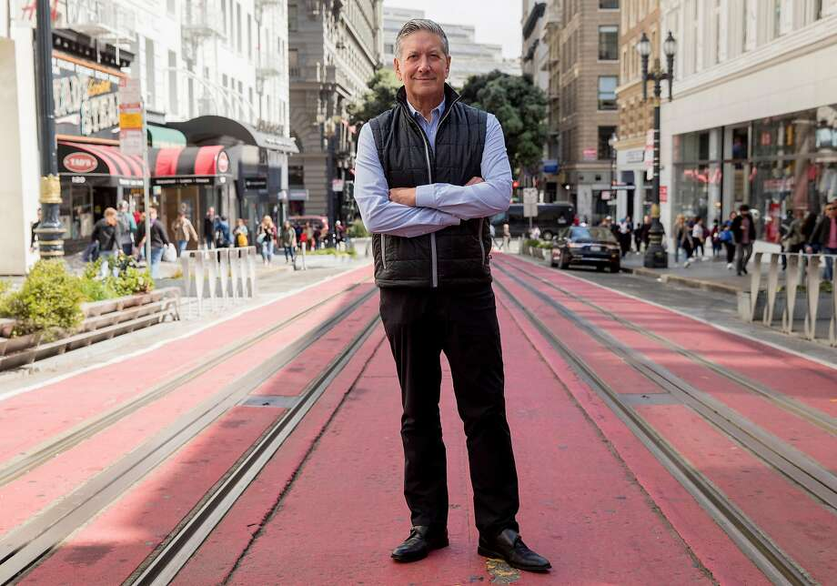 Joe D'Alessandro, head of San Francisco Travel, poses for a portrait near Union Square. Photo: Jessica Christian / The Chronicle