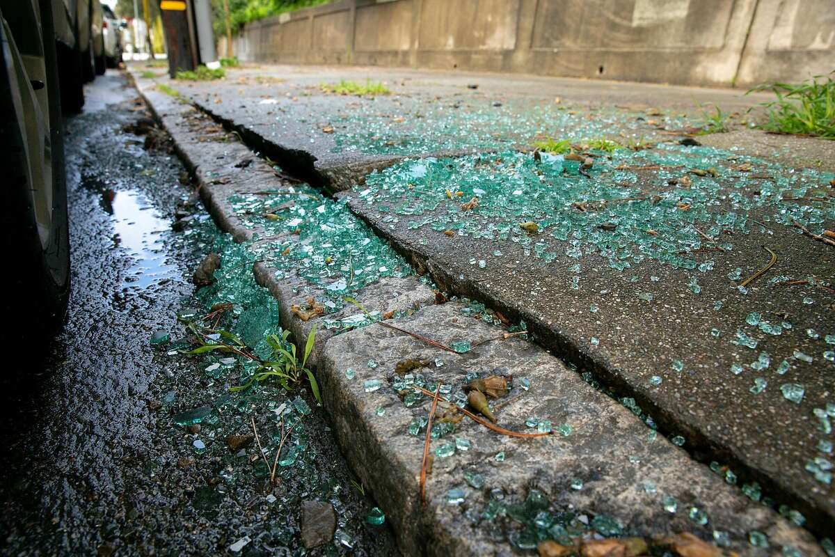 Glass from a car near the Lombard Street on Thursday, Feb. 14, 2019, in San Francisco, Calif.