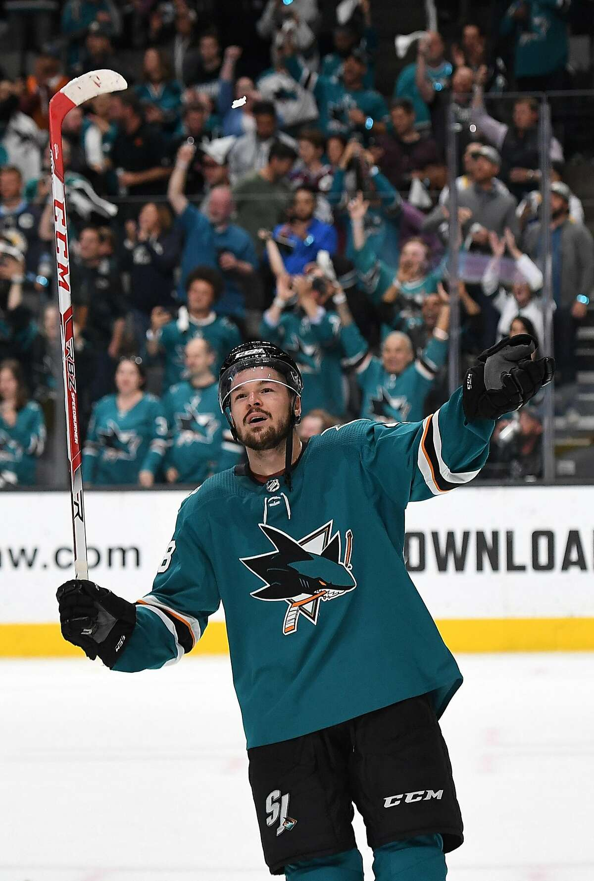 SAN JOSE, CA - MAY 08: Tomáš Hertl #48 of the San Jose Sharks celebrates after they defeated the Colorado Avalanche 3-2 in Game Seven of the Western Conference Second Round during the 2019 NHL Stanley Cup Playoffs at SAP Center on May 8, 2019 in San Jose, California.