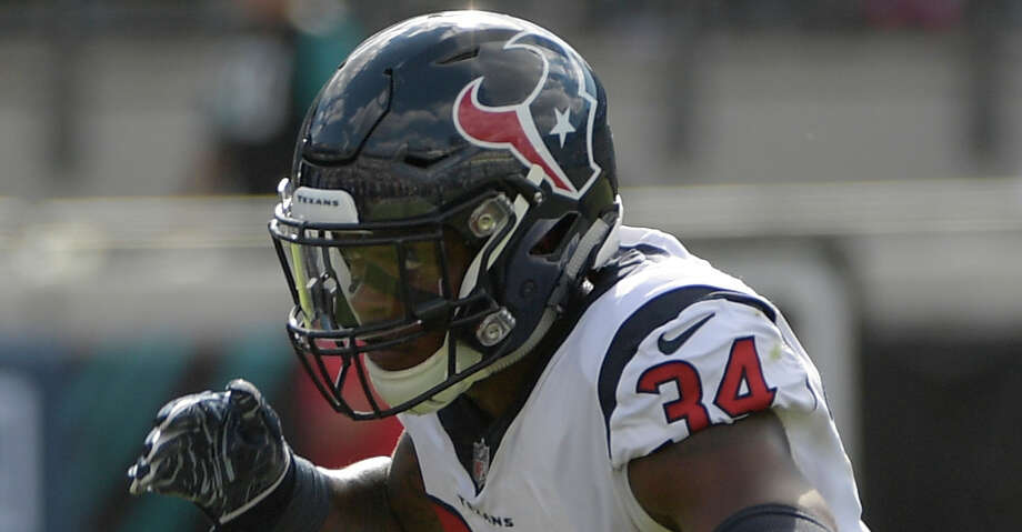 PHOTOS: Rookie minicamp Houston Texans defensive back Mike Tyson (34) celebrates a play against the Jacksonville Jaguars during the second half of an NFL football game, Sunday, Oct. 21, 2018, in Jacksonville, Fla. (AP Photo/Phelan M. Ebenhack) Browse through the photos to see action from the Texans' rookie minicamp on Friday. Photo: Phelan M. Ebenhack/Associated Press / Copyright 2018 The Associated Press. All rights reserved