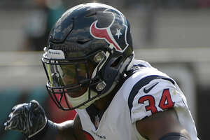 Houston Texans defensive back Mike Tyson (34) celebrates a play against the Jacksonville Jaguars during the second half of an NFL football game, Sunday, Oct. 21, 2018, in Jacksonville, Fla. (AP Photo/Phelan M. Ebenhack)