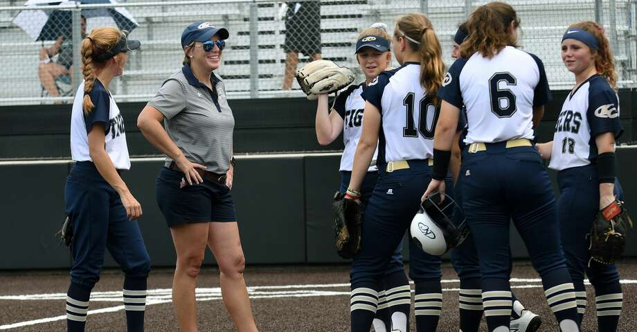 Klein Collins Head Softball Coach Audra Troutman pumps up her team between innings of Game One of their Region II-6A Regional Quarterfinal Playoff Series matchup with Spring at Humble High School on May 9, 2019. Photo: Jerry Baker/Contributor