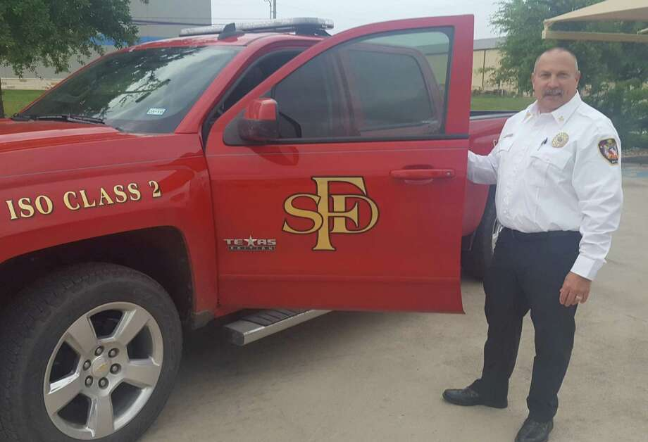 Kyle McAfee is the new Selma fire chief. On duty since April 29, he was formerly an assistant chief in Schertz and North Richland Hills, near Fort Worth. Photo: Jeff B. Flinn / Staff Photographer