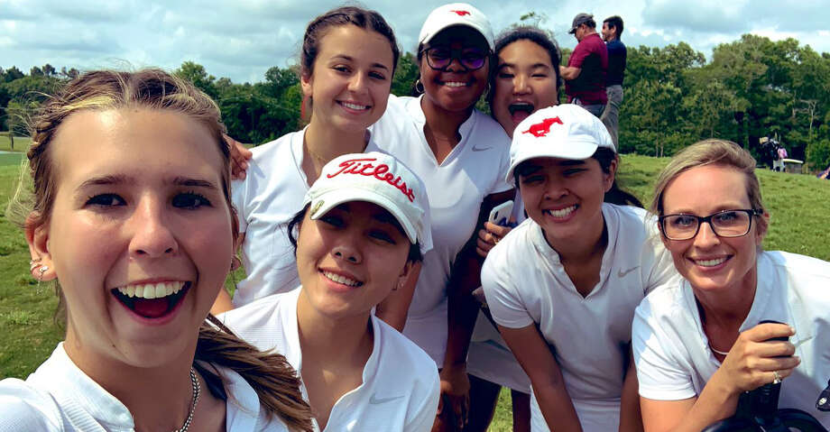 The Memorial girls golf team of Zoe Slaughter, Jackie Nguyen, Ashleigh Stoehr, Victoria Pappas and Geene Chiravanich scored a two-round total of 619 to finish second at the Region III-6A tournament. The Mustangs advanced to their fourth consecutive state tournament. Photo: Memorial High School