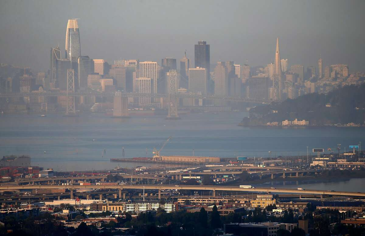 The skyline of San Francisco, Calif. is visible through a layer of smog at sunrise on Tuesday, April 23, 2019. The American Lung Association is releasing an annual report on the state of the air quality.