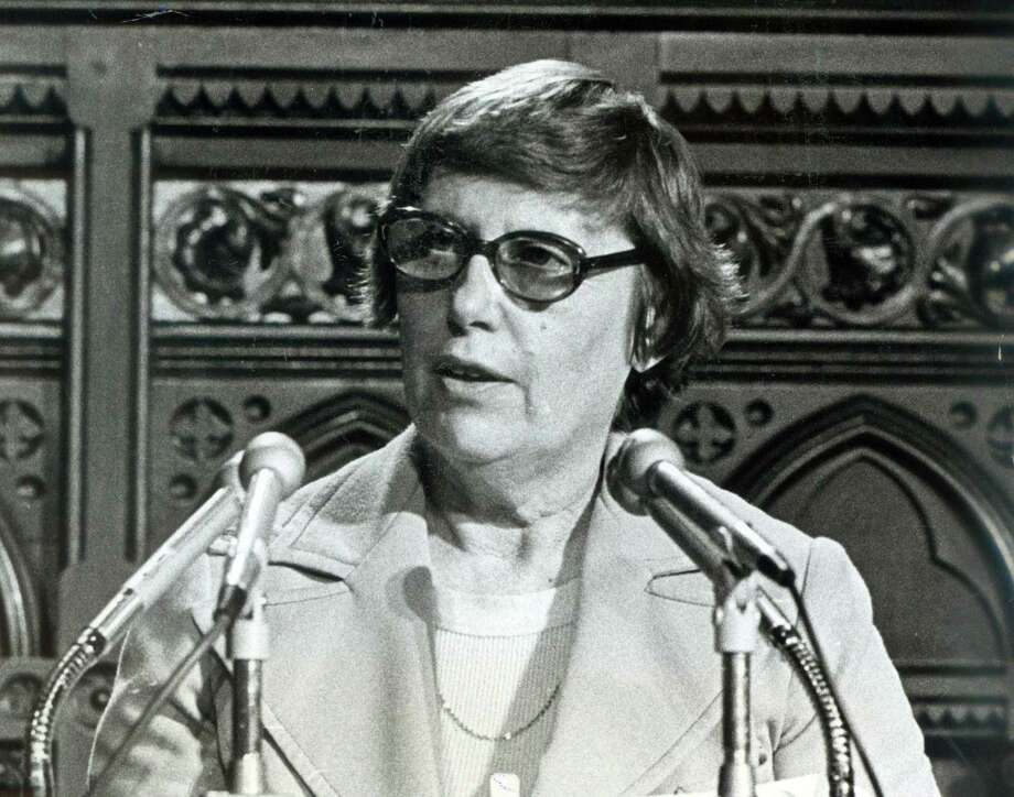 Gov. Ella Grasso speaks at the State Capital in Hartford in 1975. Photo: File Photo / Connecticut Post File Photo
