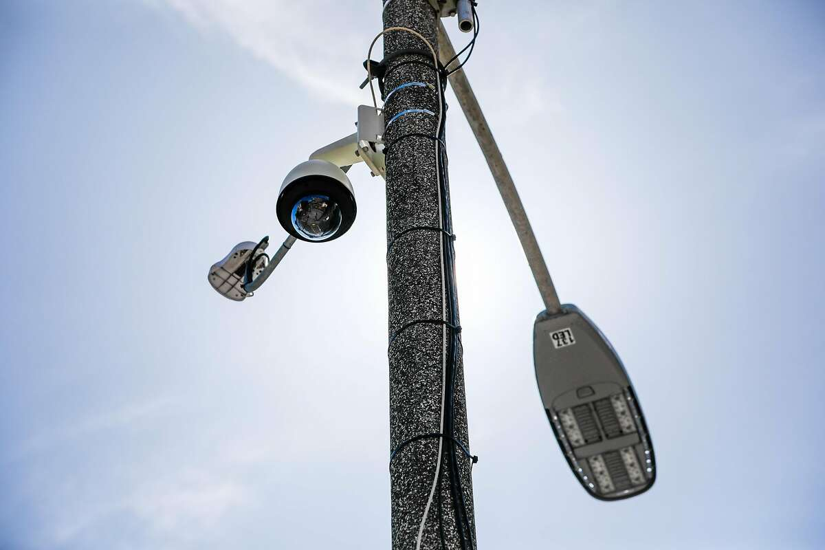 A security camera is seen on top of a pole on McAllister and Larkin Streets in San Francisco, California, on Monday, May 13, 2019. The Board of Supervisors is considering a proposal to ban city departments from using facial recognition software. While privacy advocates applaud the move, others say it will keep the city from a useful tool in crime solving. San Francisco law enforcement agencies such as the police department and District Attorney's office, say they do not use facial recognition software.
