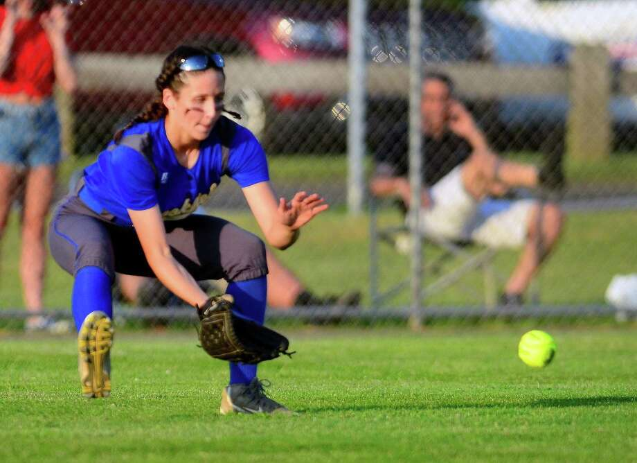 Brookfield's Avery Katz fields a ball against Masuk during a June 8 game in West Haven. Photo: Christian Abraham / Hearst Connecticut Media / Connecticut Post