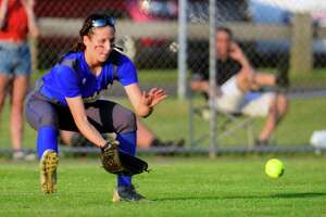 Brookfield's Avery Katz fields a ball against Masuk during a June 8 game in West Haven.