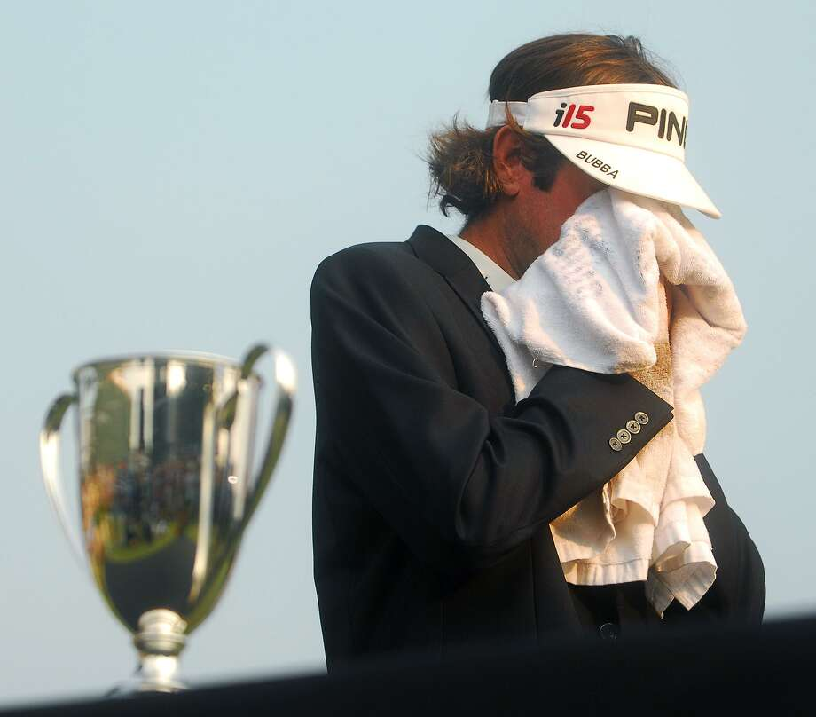 Bubba Watson, 2010 Travelers Champion, gets emotional at the mention of his father who is sick with cancer. Photo: New Haven Register / Brad Horrigan