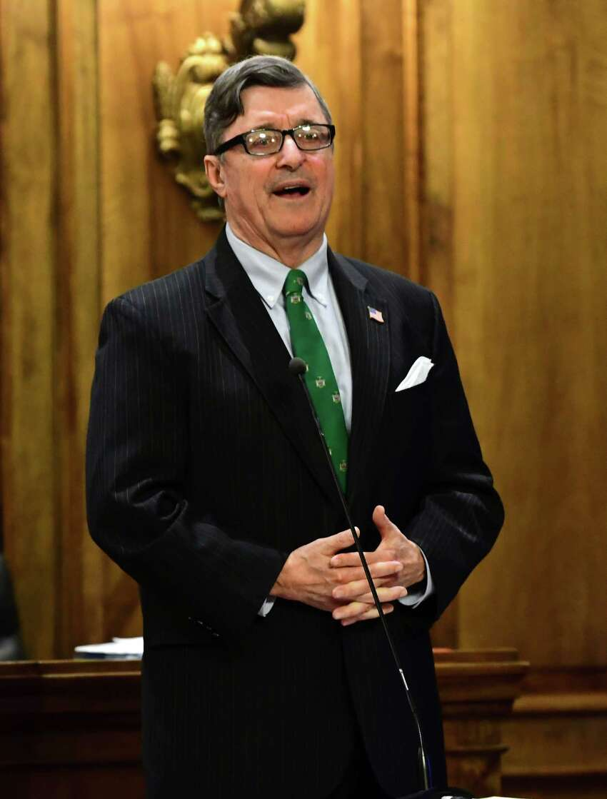 Albany County Comptroller Michael F. Connors ll speaks during an Albany County Legislature meeting on Monday, May 13, 2019 in Albany, N.Y. One of the items on the agenda was a vote on an independent redistricting commission and process that ensures little political influence when when it comes to redrawing legislative district lines following the release of the 2020 Census. (Lori Van Buren/Times Union)