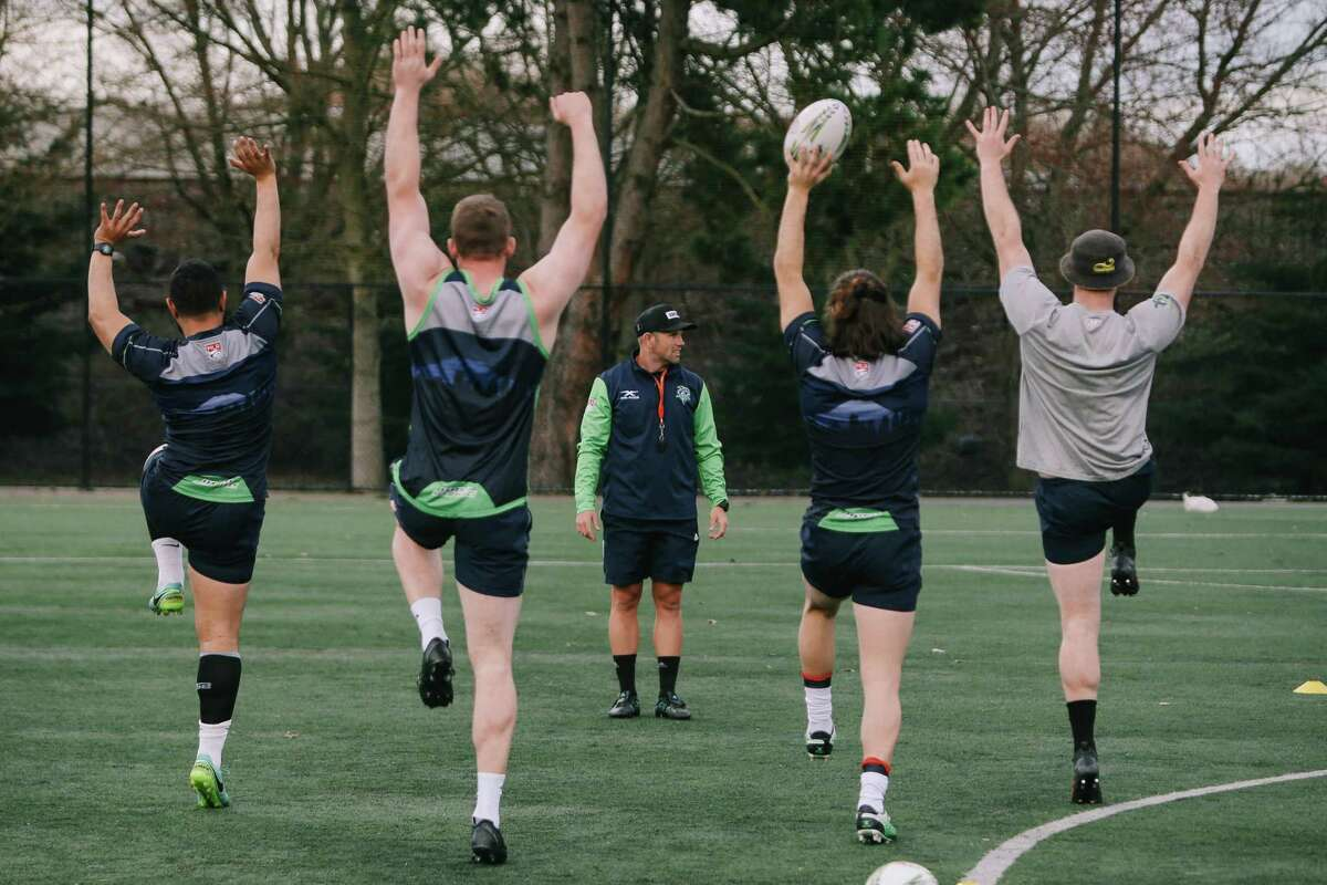 Seawolves warm up during a practice at Starfire Sports, March 20, 2019.