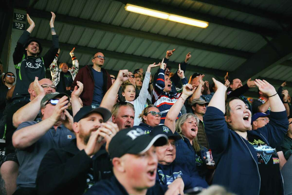 Fans cheer during the Seattle Seawolves' game against the San Diego Legion at Starfire Sports, March 31, 2019.