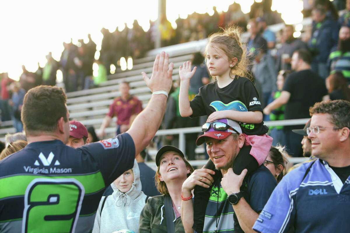 Stephan Coetzee greets fans after the Seawolves' game against the San Diego Legion at Starfire Sports, March 31, 2019.