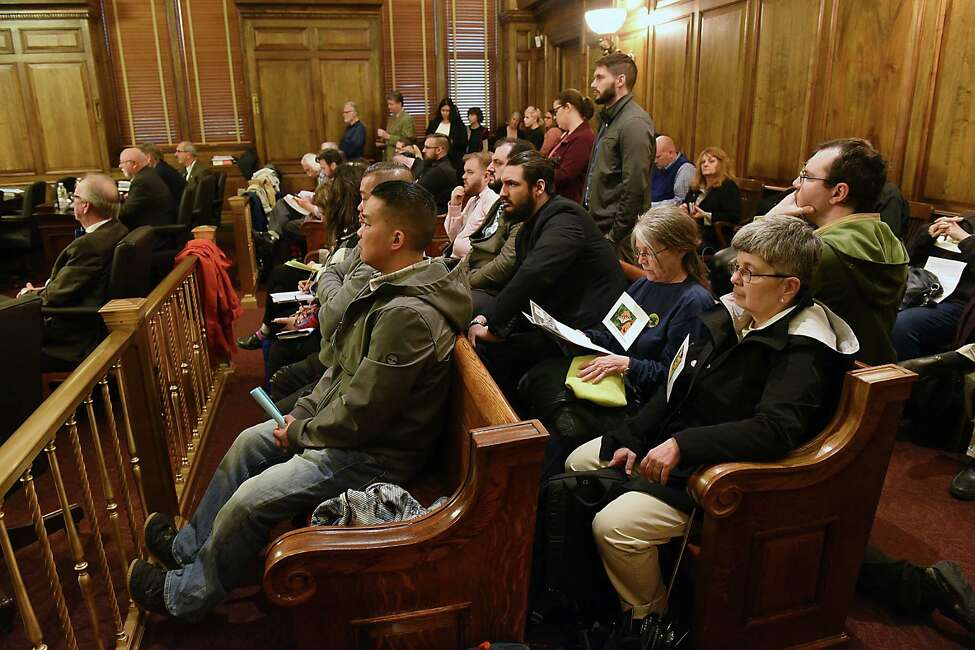 People attend an Albany County Legislature meeting on Monday, May 13, 2019 in Albany, N.Y. One of the items on the agenda was a vote on an independent redistricting commission and process that ensures little political influence when when it comes to redrawing legislative district lines following the release of the 2020 Census. (Lori Van Buren/Times Union)