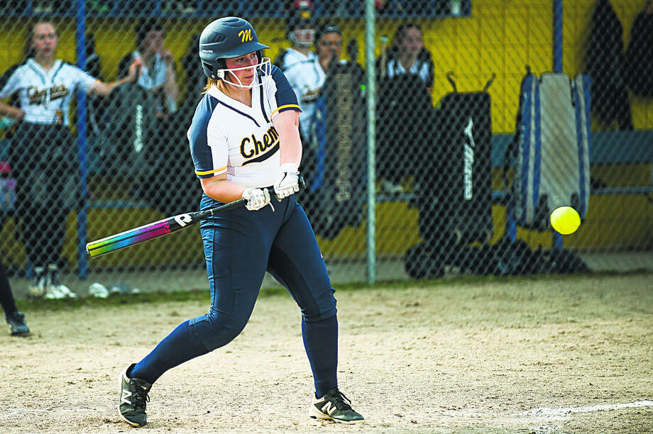 Midland High's Alex Craig gets ready to swing during a game against Lapeer earlier this season in this Daily News file photo. Photo: Katykildee/kildee@mdn.net