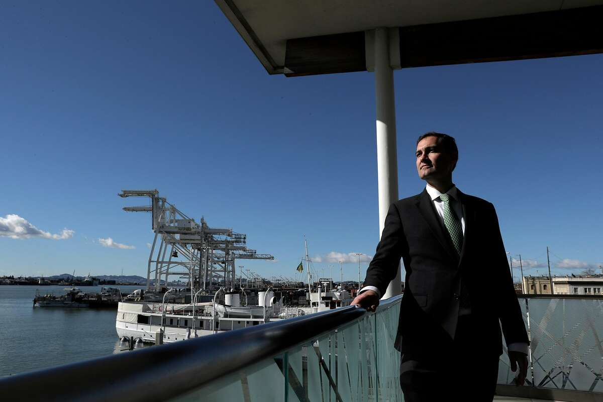 Oakland A's President Dave Kaval at the Oakland - San Francisco Ferry Terminal near Howard Terminal in Oakland, Calif., on Tuesday, February 5, 2019. Kaval says this is actually a great opportunity to remediate and clean up the site once and for all.