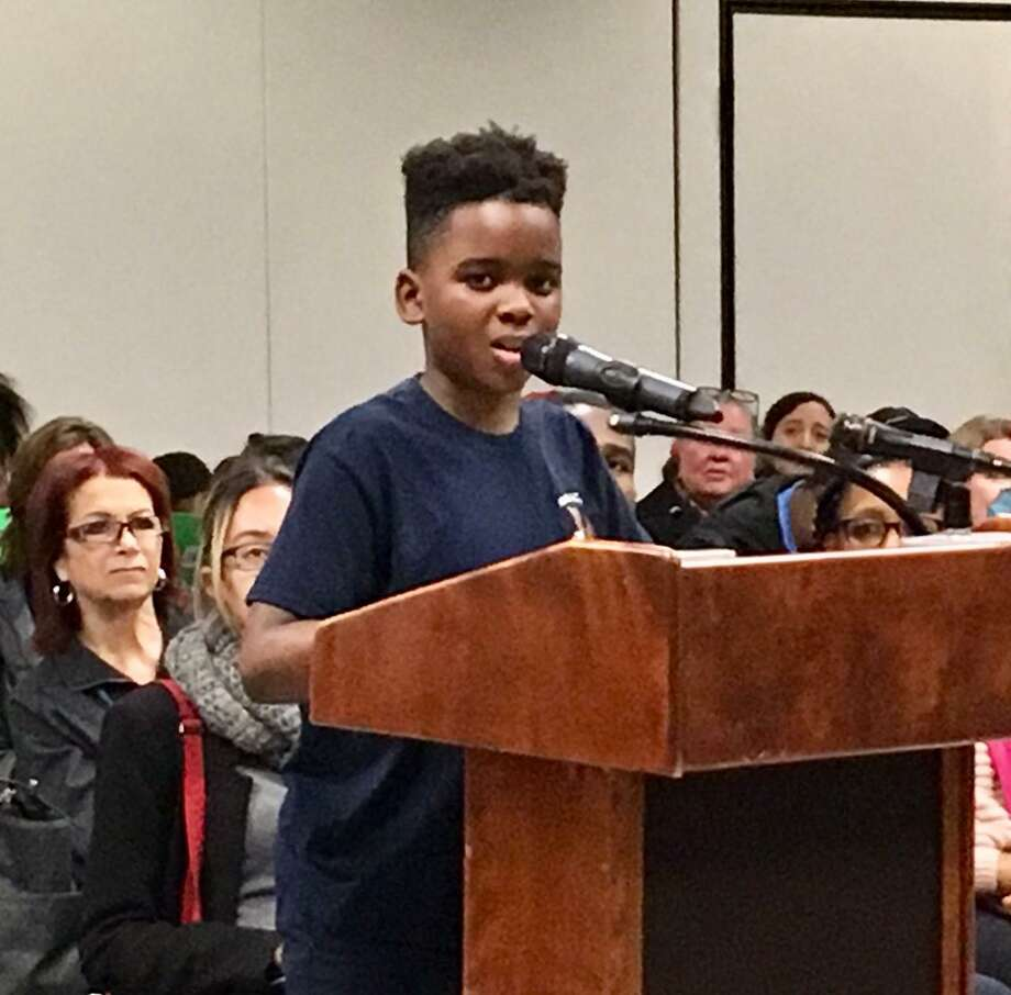 The Hall School community makes its case to the Bridgeport Board of Education. May 13, 2019. Photo: Linda Conner Lambeck