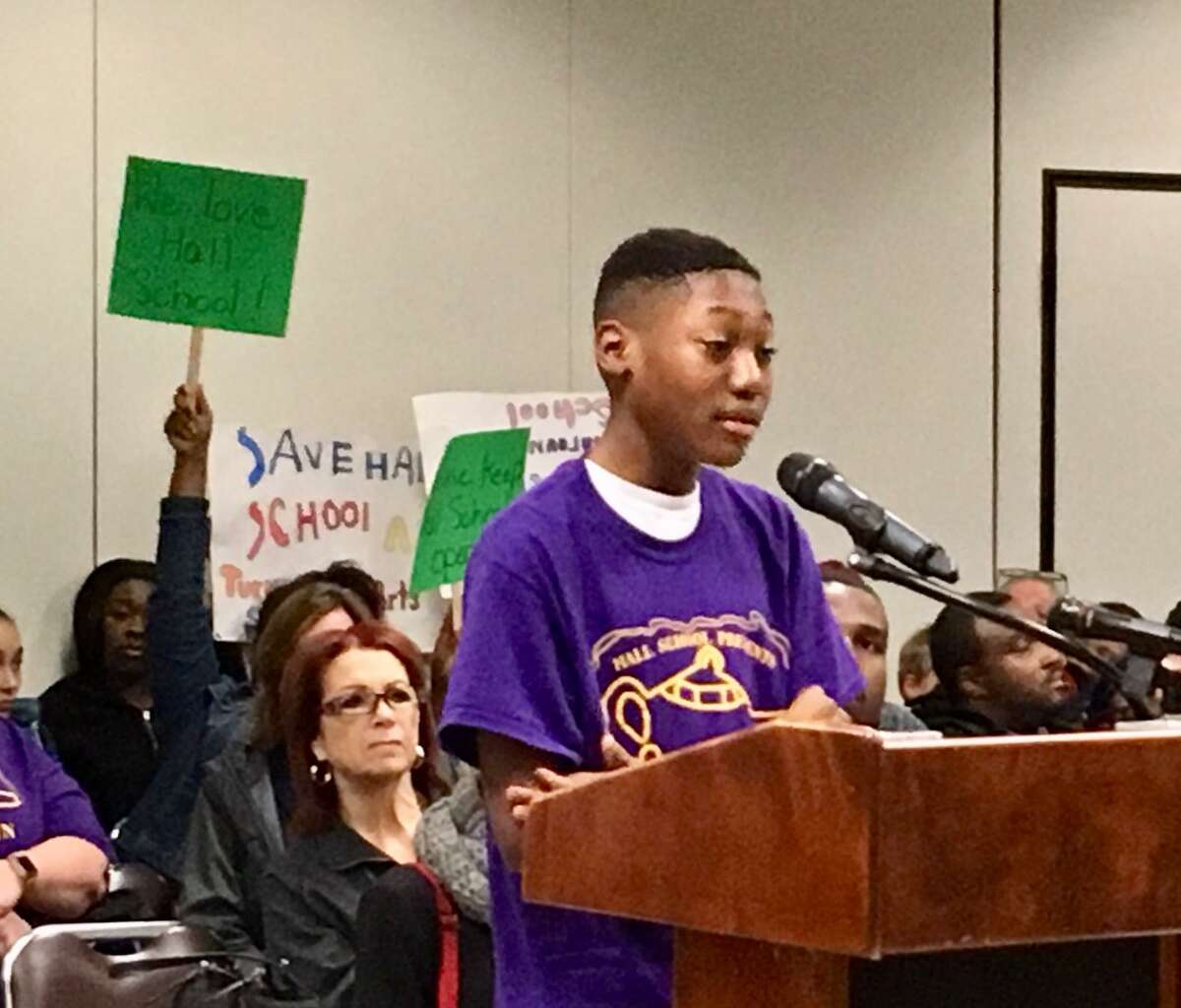 The Hall School community makes its case to the Bridgeport Board of Education. May 13, 2019.