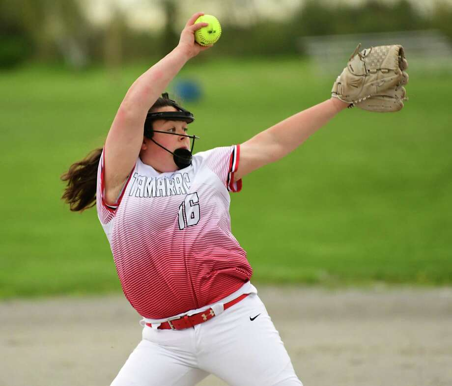 Tamarac pitcher Maggie Kelley throws the ball during a softball game against Mechanicville on Thursday, May 9, 2019 in Mechanicville, N.Y. (Lori Van Buren/Times Union) Photo: Lori Van Buren / 20046905A